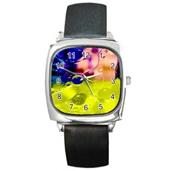 Abstract Bubbles Oil Square Metal Watch by Nexatart