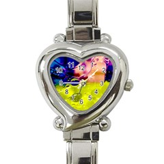 Abstract Bubbles Oil Heart Italian Charm Watch by Nexatart