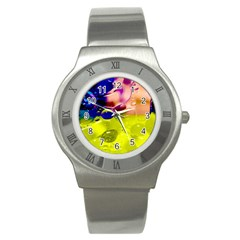 Abstract Bubbles Oil Stainless Steel Watch by Nexatart