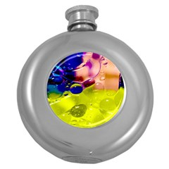 Abstract Bubbles Oil Round Hip Flask (5 Oz)