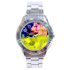 Abstract Bubbles Oil Stainless Steel Analogue Watch by Nexatart