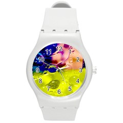 Abstract Bubbles Oil Round Plastic Sport Watch (m) by Nexatart
