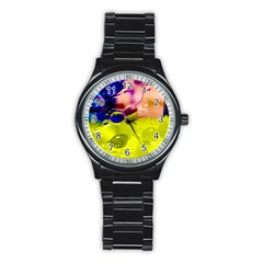 Abstract Bubbles Oil Stainless Steel Round Watch by Nexatart