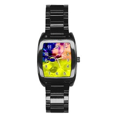 Abstract Bubbles Oil Stainless Steel Barrel Watch by Nexatart