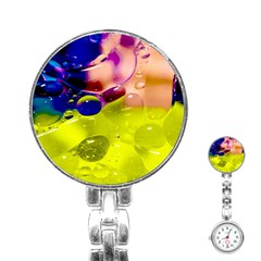 Abstract Bubbles Oil Stainless Steel Nurses Watch by Nexatart