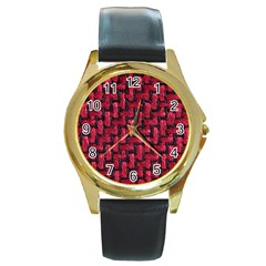 Fabric Pattern Desktop Textile Round Gold Metal Watch