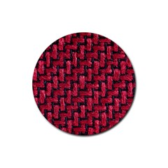 Fabric Pattern Desktop Textile Rubber Round Coaster (4 Pack)  by Nexatart