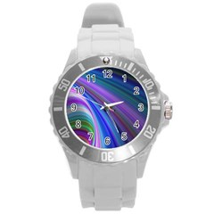 Background Abstract Curves Round Plastic Sport Watch (l)