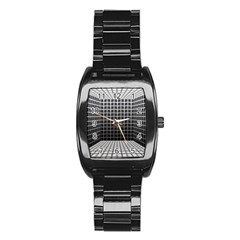 Space Glass Blocks Background Stainless Steel Barrel Watch