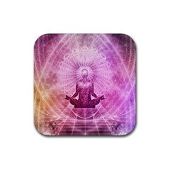 Meditation Spiritual Yoga Rubber Square Coaster (4 Pack)  by Nexatart