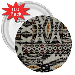 Fabric Textile Abstract Pattern 3  Buttons (100 Pack)