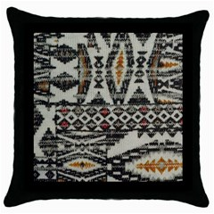 Fabric Textile Abstract Pattern Throw Pillow Case (black)