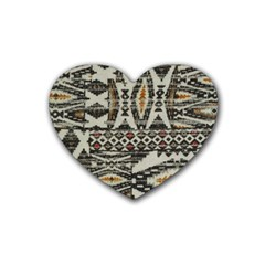 Fabric Textile Abstract Pattern Rubber Coaster (heart)