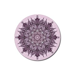 Mandala Pattern Fractal Rubber Round Coaster (4 Pack)