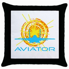 Aviator Throw Pillow Case (black) by FunnyCow