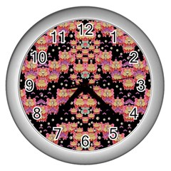 Fantasy Flower Ribbon And Happy Florals Festive Wall Clocks (silver)  by pepitasart