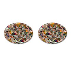 Patchwork Pattern Cufflinks (oval) by bywhacky