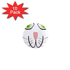 Cat Green Eyes Happy Animal Pet 1  Mini Magnet (10 Pack)