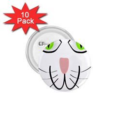 Cat Green Eyes Happy Animal Pet 1 75  Buttons (10 Pack)