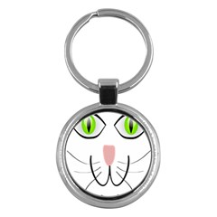 Cat Green Eyes Happy Animal Pet Key Chains (round)