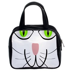Cat Green Eyes Happy Animal Pet Classic Handbags (2 Sides)