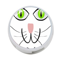 Cat Green Eyes Happy Animal Pet 4 Port Usb Hub (two Sides)