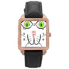 Cat Green Eyes Happy Animal Pet Rose Gold Leather Watch