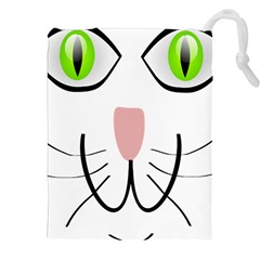 Cat Green Eyes Happy Animal Pet Drawstring Pouches (xxl)