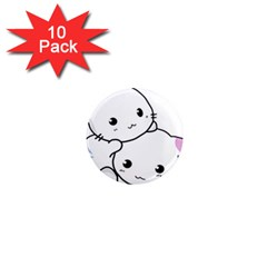 Kitty Cuddling Cat Kitten Feline 1  Mini Magnet (10 Pack)