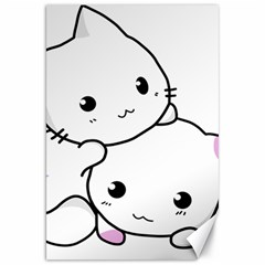 Kitty Cuddling Cat Kitten Feline Canvas 20  X 30   by Sapixe