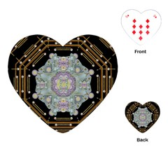 Butterflies And Flowers A In Romantic Universe Playing Cards (heart)  by pepitasart