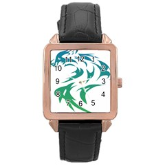 Wolf Dog Fox Animal Pet Vector Rose Gold Leather Watch