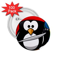 Penguin Pirate Tux Animal Bandana 2 25  Buttons (100 Pack)