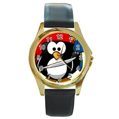 Penguin Pirate Tux Animal Bandana Round Gold Metal Watch