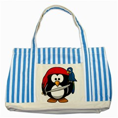 Penguin Pirate Tux Animal Bandana Striped Blue Tote Bag by Sapixe