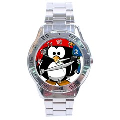 Penguin Pirate Tux Animal Bandana Stainless Steel Analogue Watch by Sapixe