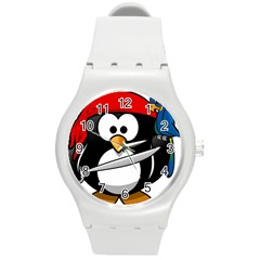 Penguin Pirate Tux Animal Bandana Round Plastic Sport Watch (m) by Sapixe