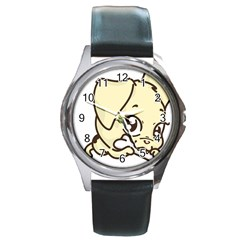 Doggy Dog Puppy Animal Pet Figure Round Metal Watch