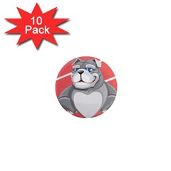 Bulldog Dog Animal Pet Heart Fur 1  Mini Magnet (10 Pack)