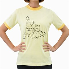 Dog Cat Pet Silhouette Animal Women s Fitted Ringer T-shirts