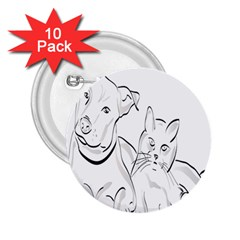 Dog Cat Pet Silhouette Animal 2 25  Buttons (10 Pack)  by Sapixe