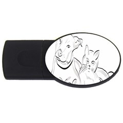 Dog Cat Pet Silhouette Animal Usb Flash Drive Oval (2 Gb) by Sapixe