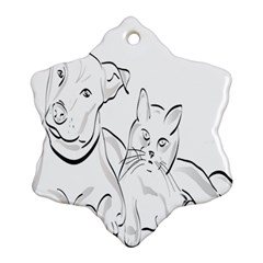 Dog Cat Pet Silhouette Animal Ornament (snowflake) by Sapixe