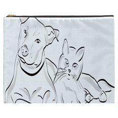 Dog Cat Pet Silhouette Animal Cosmetic Bag (xxxl)