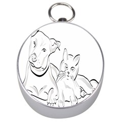 Dog Cat Pet Silhouette Animal Silver Compasses by Sapixe