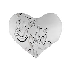 Dog Cat Pet Silhouette Animal Standard 16  Premium Flano Heart Shape Cushions by Sapixe