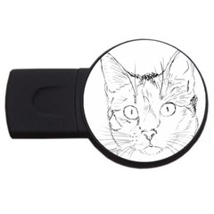 Cat Feline Animal Pet Usb Flash Drive Round (4 Gb) by Sapixe