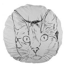 Cat Feline Animal Pet Large 18  Premium Flano Round Cushions by Sapixe