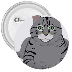 Cat Kitty Gray Tiger Tabby Pet 3  Buttons by Sapixe