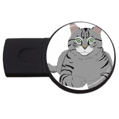 Cat Kitty Gray Tiger Tabby Pet Usb Flash Drive Round (4 Gb) by Sapixe